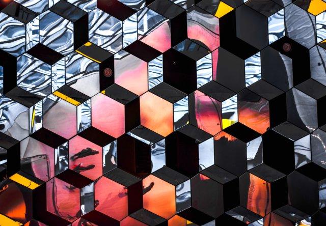 Hexagon mirrors pink orange