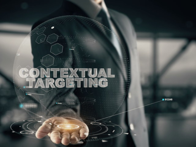 Contextual Targeting with hologram businessman concept