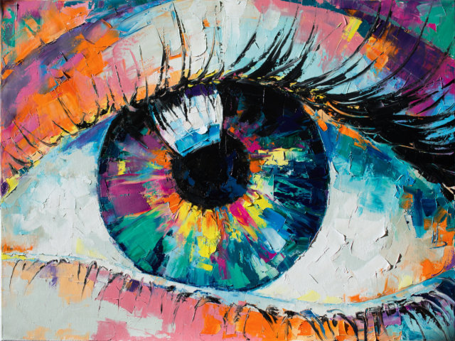 """Fluorite"" - oil painting. Conceptual abstract picture of the eye. Oil painting in colorful colors. Conceptual abstract closeup of an oil painting and palette knife on canvas."